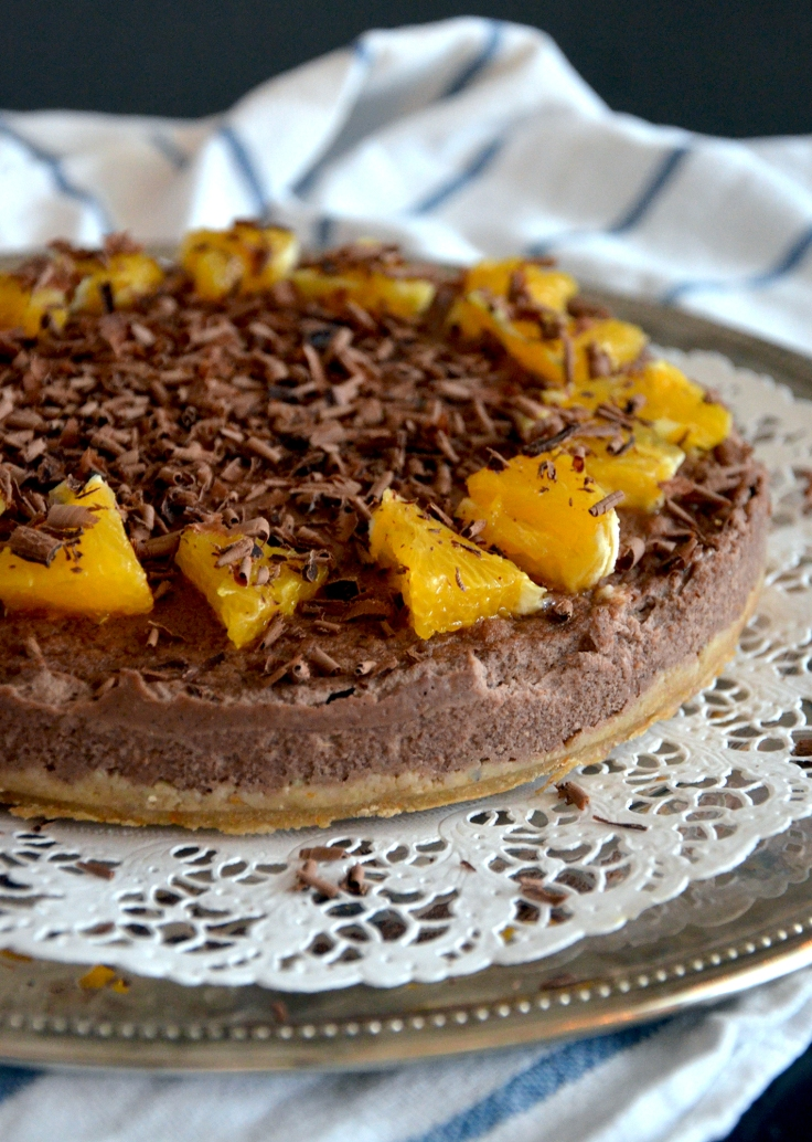 Vegaaninen ja sokeriton appelsiini-suklaajuustokakku - Vegan, Sugar-free Chocolate Orange Cheesecake / Sweets by Sini